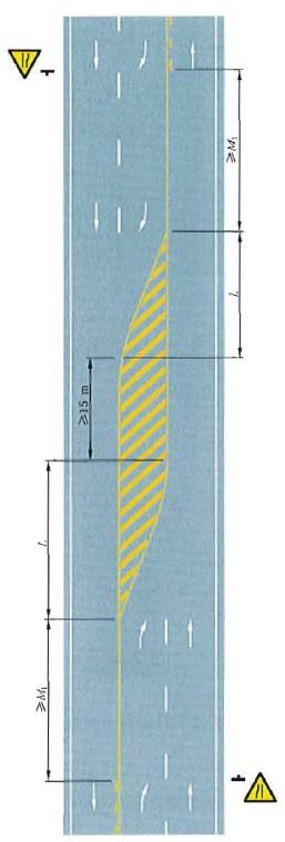三车行道道路填充线渐变段标线设置示例