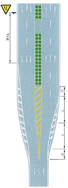 两车行道变为四车行道填充线渐变段标线设置示例