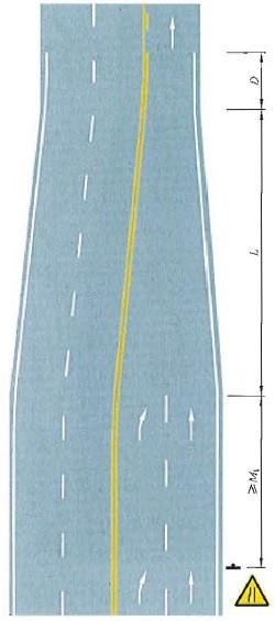 四车行道变为三车行道渐变段标线设置示例
