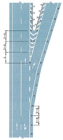 出口匝道突起路标布设示例