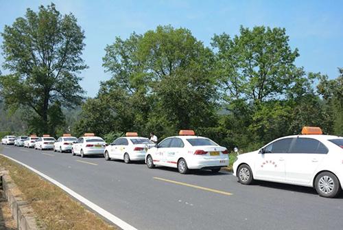 路上排成一列的教练车